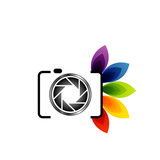 Photography logo- digital camera with colorful leaves