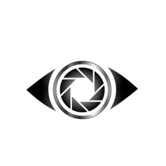 Conceptual eye with an iris designed like a photography aperture