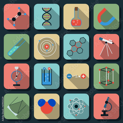 Science flat vector icons