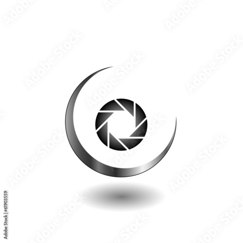 Photography logo with aperture symbol