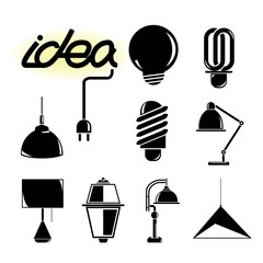 idea light icons, lamp icons