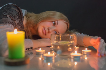 Portrait of the girl with candles