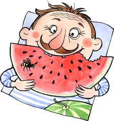 Cartoon man eating watermelon