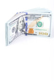 American hundred dollar bills on a white background