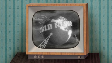 Retro b&w TV showing news, green background, TV test.