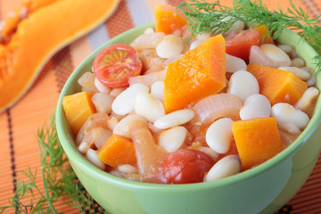White beans stewed with pumpkin and tomato
