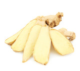 Sliced ginger root isolated