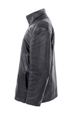 vintage black leather jacket, isolated on white background