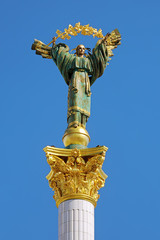 Statue of Berehynia on the top of Independence Monument in Kiev