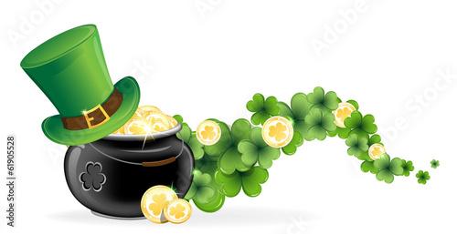Leprechaun hat and pot of gold - 61905528