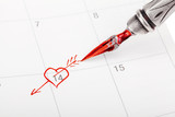 Calendar with Saint Valentine's date marked out with ink pen