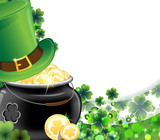 Leprechaun hat and pot with gold coins