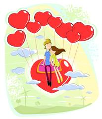 Love couple sitting on heart
