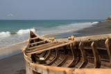 Fishing boat on the Adayam beach, Kerala, India