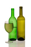Special white wine bottles and glass