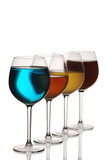 Special blue, red, orange and yellow cocktail glasses