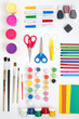 Colorful set of tools for painting drawing modeling and applique