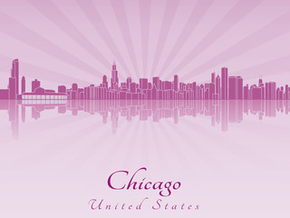 Chicago skyline in purple radiant orchid