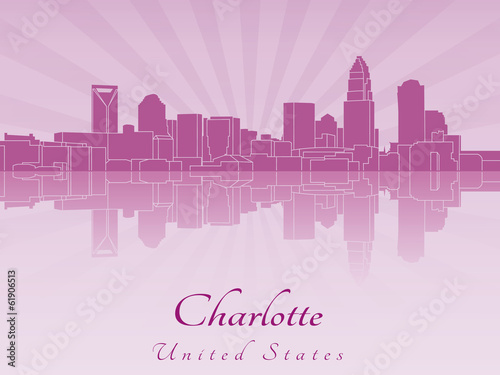 Charlotte skyline in purple radiant orchid