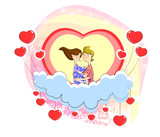 Love couple sitting on heart