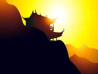 Sunrise on Pagoda-Vector