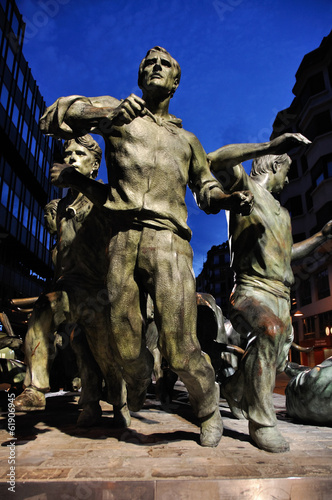 The Statue of Encierros in Pamplona,  Spain