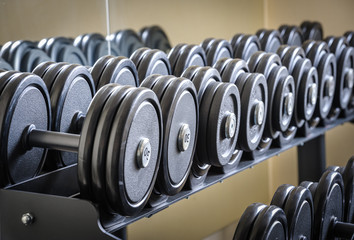 Row of barbells