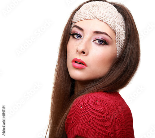 Sexy makeup woman looking with long hair isolated