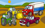 vehicles machines group cartoon illustration