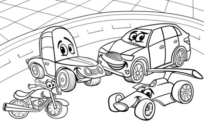 cars vehicles cartoon coloring page