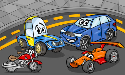 cars vehicles group cartoon illustration