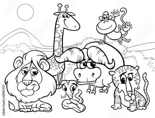 Wild Animals Cartoon Coloring Page Buy Photos Ap Images Detailview