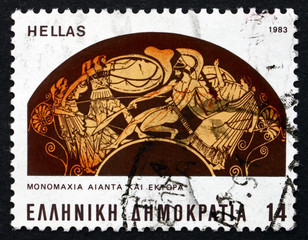 Postage stamp Greece 1983 Battle between Ajax and Hector