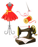 mannequin, dress, sewing machine isolated
