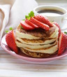 pancakes for breakfast with fresh strawberries