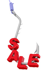 "Word ""sale"" on a fishing hook"
