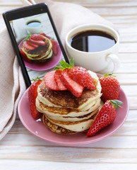 smartphone shot food photo  - pancakes with fresh strawberries