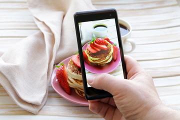 smartphone shot food photo  - pancakes with fresh strawberries