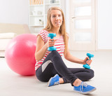 Woman with gym ball