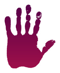Old man purple hand print