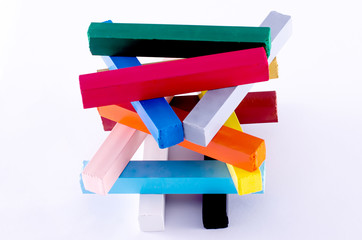 pyramid of colorful crayons