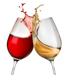Splashes of wine in two wineglasses