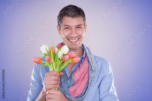 canvas print picture flower man