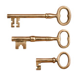 Three Antique Brass Keys