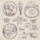 hand drawn vintage set Valentine's Day