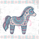 Vintage vector ethnic horse illustration