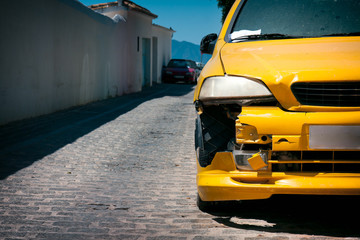 Yellow Car Damage