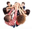 Pile of hands - Successful business team celebrating success