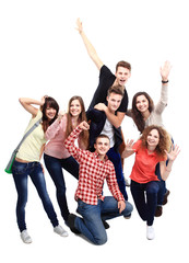 Casual group of excited friends isolated on white