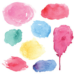 Watercolor splashes set in vector